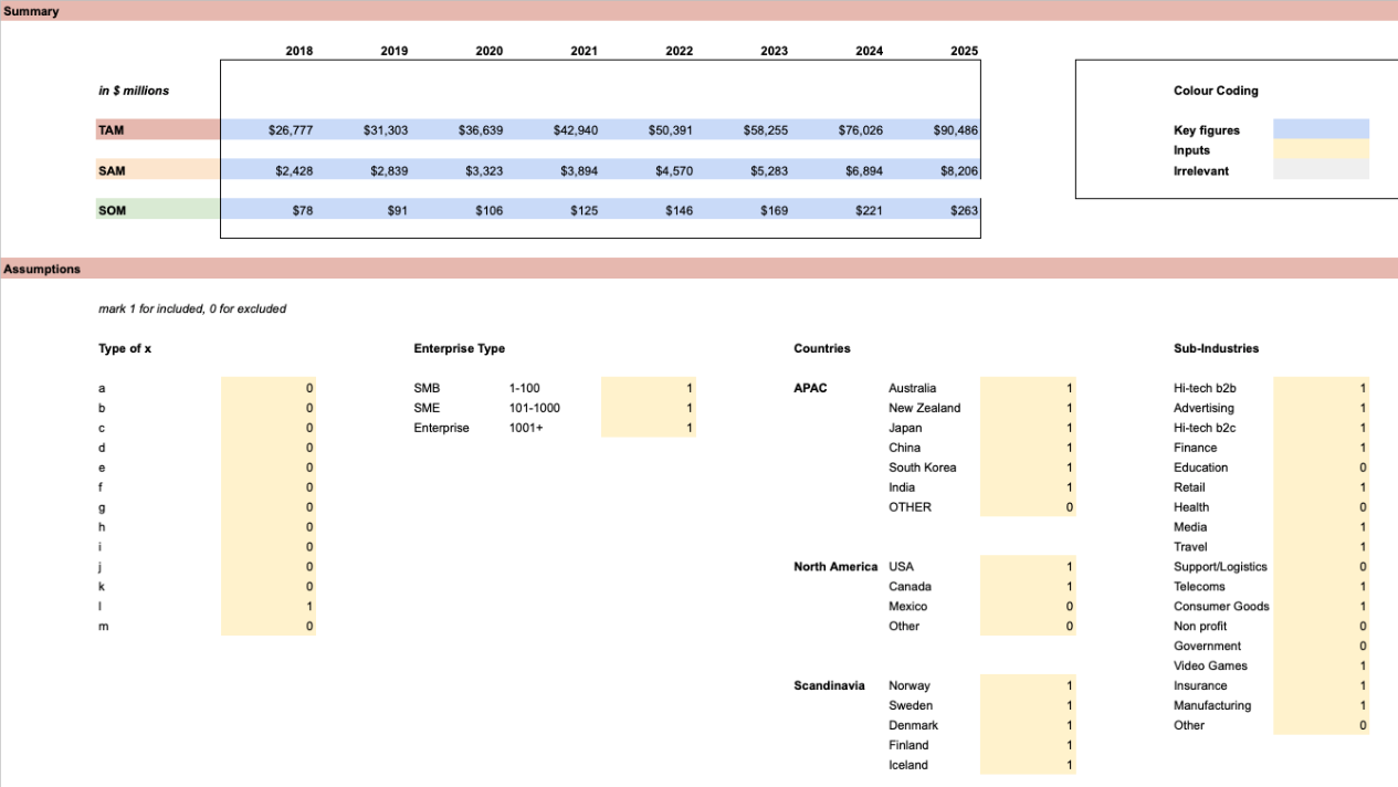 Example of TAM summary excel spreadsheet